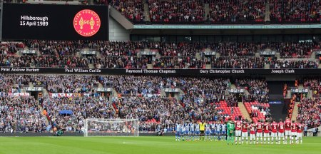 Wembley observes a minutes silence - 25th anniversary of Hillsborough